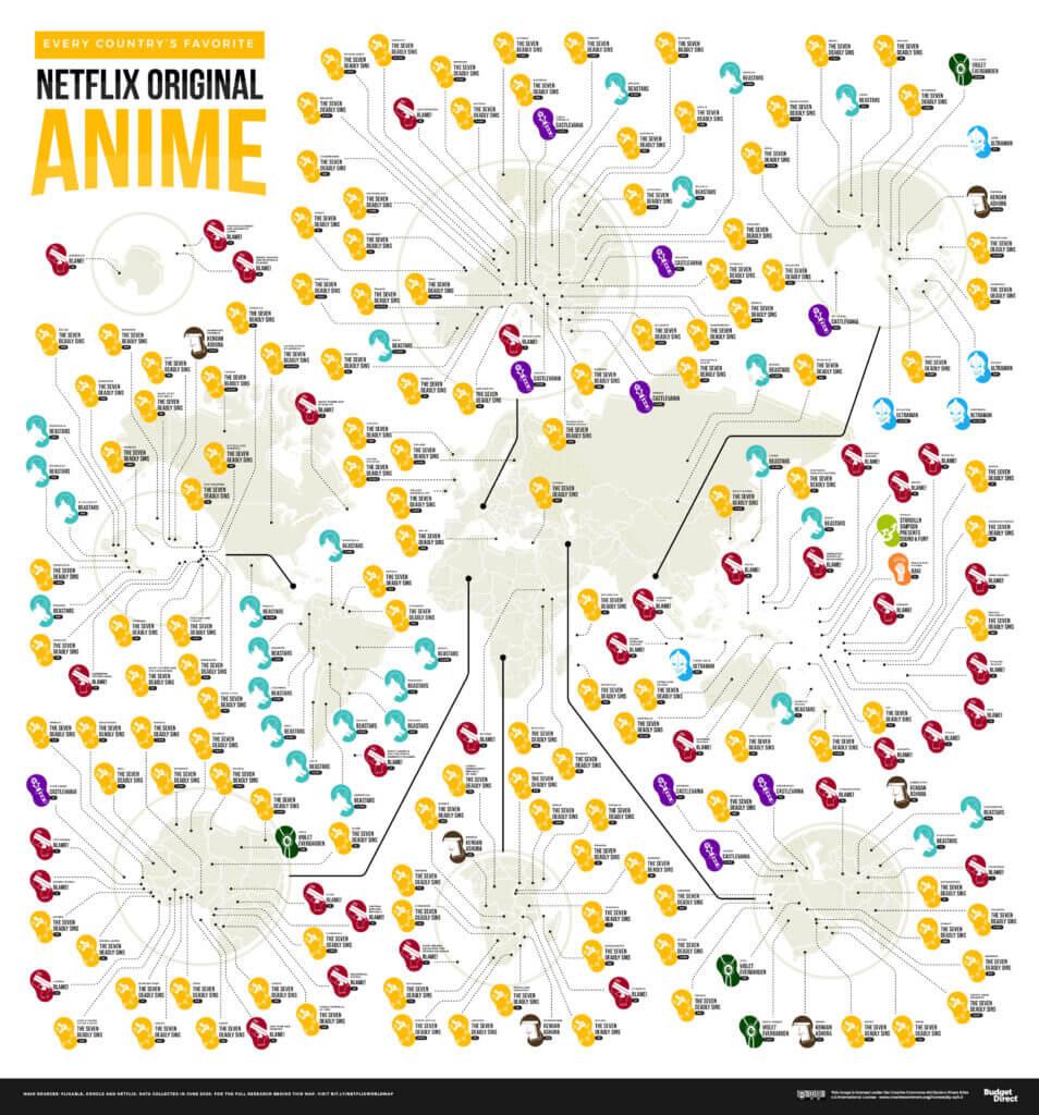 Netflix Weltkarte zeigt, welches Land welchen Anime am meisten schaut