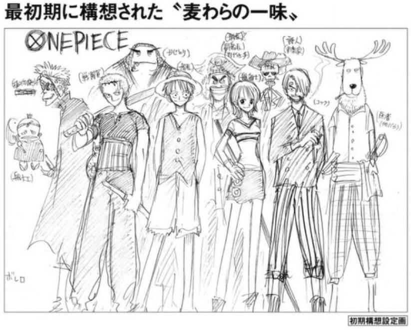 Konzeptzeichnung von Eiichiro Oda zeigt, wie die Strohhutbande ursprünglich aussehen sollte