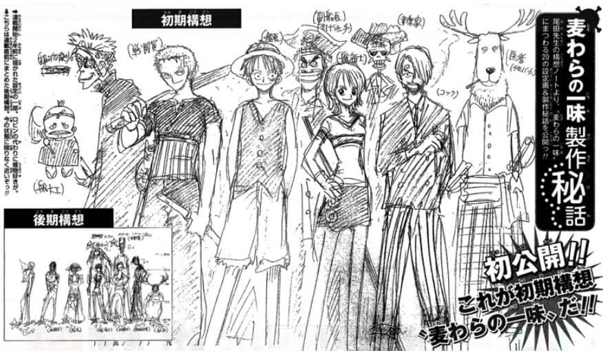 Konzeptzeichnung von Eiichiro Oda von vor 10 Jahren zeigt, wie die Strohhutbande ursprünglich aussehen sollte